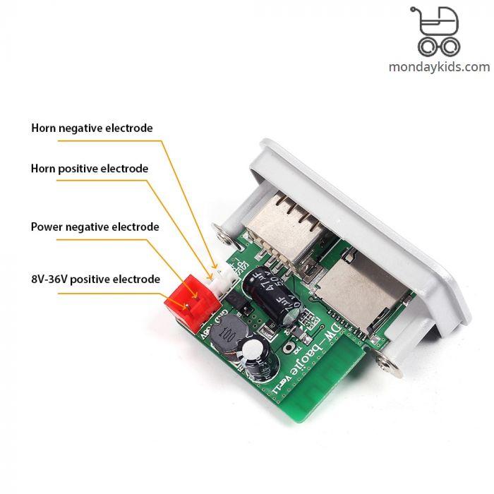Monday Kids Mini Bluetooth MP3 Decode Board 12V/24V/36V Single Channel 3W  Power Amplifier for TF/U disk