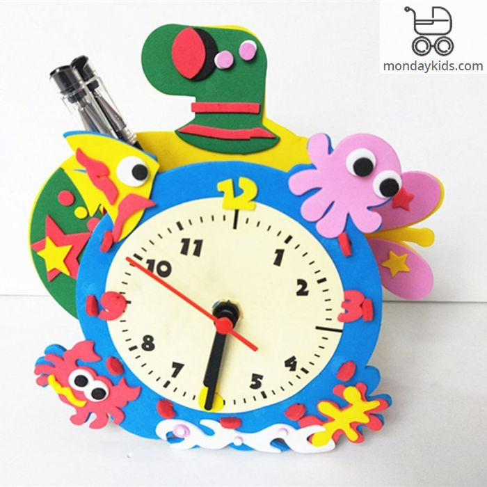 Welcome For Visiting Monday Kids 2 In 1 Diy 3d Cartoon Eva Clock