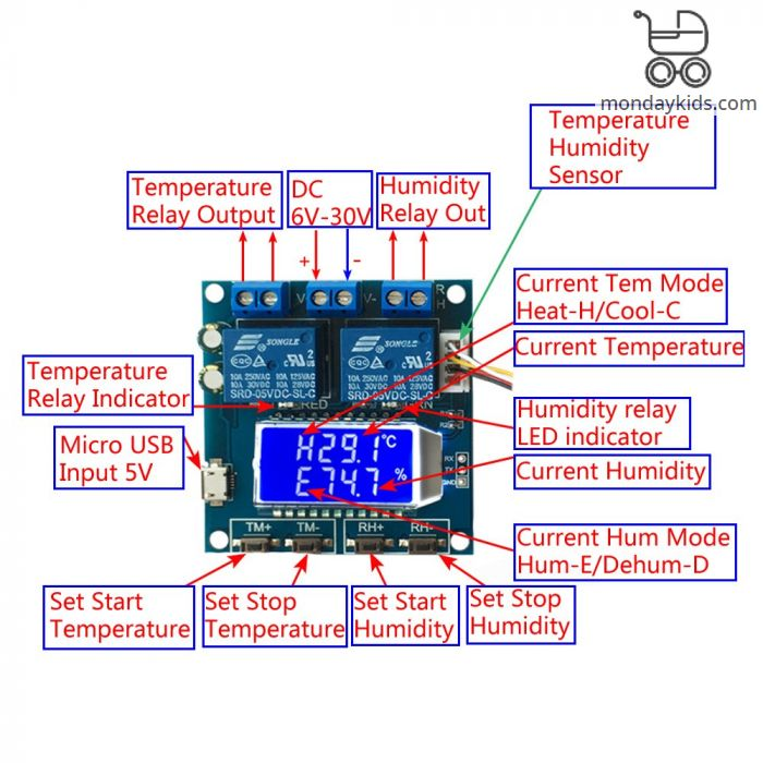 Monday Kids SHT20 Humidity Temperature Controller DC 12V 0-100%RH -20-60  Celsius Digital LCD Display 2-Channel Relay Module