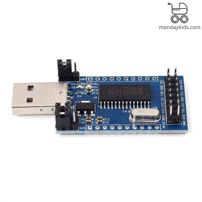 Monday Kids CH341A Programmer USB to UART/IIC/SPI Convertor Parallel Port  Converter onboard UART and SPI/I2C Operating Indicator Lamp