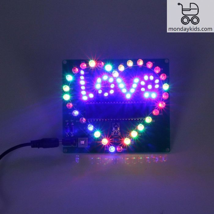 Monday Kids Colorful LED Lamp Heart Shape Electronic DIY Kit Remote Control  for Love USB Electronic Production DIY Kits Heart Shaped
