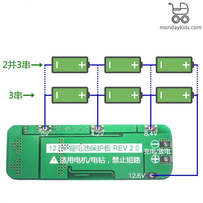 Monday Kids 3S 20A Li-ion 18650 Lithium Battery Protection Board Lipo  Battery Charger Protect PCB BMS 12 6V Cell Module For Drill Motor