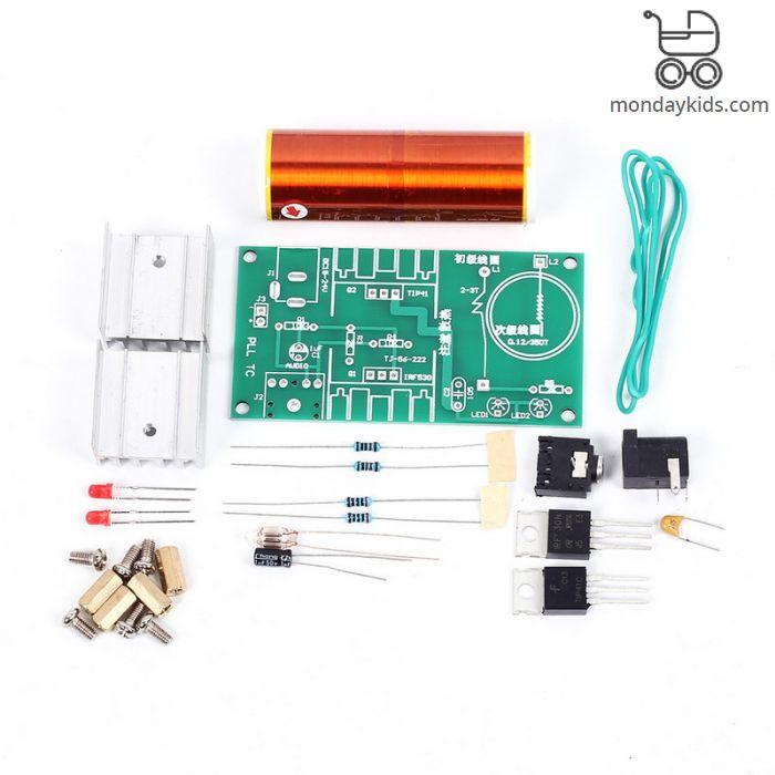 Monday Kids DIY Electronic Kit Parts Production Tesla Coil Kit 15W MINI  Music Loudspeaker Kit Electronique Music Production 3 5 Socket