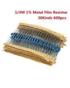 Monday Kids 600pcs/set 30 Kinds 1/4W Resistance 1% Metal Film Resistor Pack Assorted Kit 1K 10K 100K 220ohm 1M Resistors
