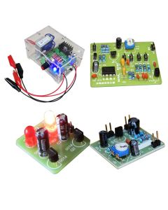 Monday Kids Students School Learning DIY Kits LM317 Adjustable Regulated Voltage Power Source+Adjustabel Sine Waveform Generator+Astable Multivibrator+Common Emitter Amplifier