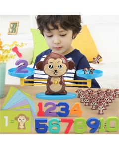 Monday Kids Math Match Game Board Toys Monkey Digital Balance Scale Toy Kids Educational Toy Addition Subtraction Math Toys