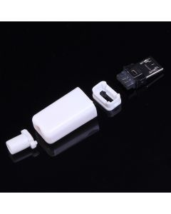 Monday Kids 50pcs White Male 5P Micro USB Connector Adapter Kit USB Plug Welding Type DIY 5PIN 5-pin Arc-shape Shell Charger Charging Socket