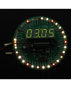 Monday Kids Electronic LED Time Display Kit Rotation LED Clock DIY Kit Remote Control Multi-Function Clock Suit