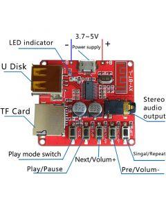 Monday Kids 3.7-5V Wireless Bluetooth MP3 Decoder Board BLE 4.1 Circuit Board Module Lossless Decoding Module Micro USB TF Card Interface