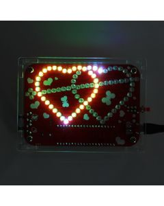 Monday Kids DIY Kit RGB LED Double Heart-shaped Light Music with Shell Kit Electronique Colorful DIY Electronic Creative Electronic DIY Kit