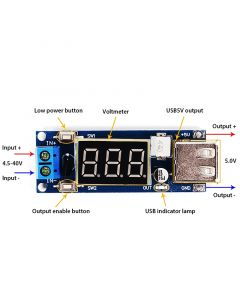 Monday Kids DC-DC 12V to 5V Step Down Power Supply Module 6V/6V/12V/15V/24V/36V to 5V Vehicle Voltmeter USB Charger USB Step Down Module