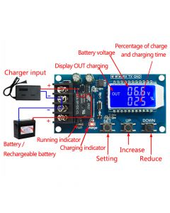 Monday Kids 10A 6-60V Lithium Battery Charge Controller Protection Board LCD Display Integrated Circuit Overcharge Protection Control Module