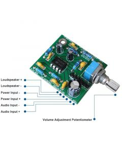 Monday Kids TDA2822M Mini Mono Audio Amplifier Board 2W BTL Amplifier Module Volume Adjustable Single Power 3V 5V 9V